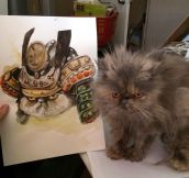 Samurai cat painting…