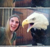 Taking a selfie with an eagle…