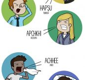Sneezing in 10 languages…