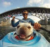 Kayaking makes him happy…