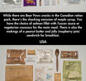 Military field rations of the world…