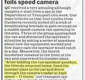 Handling speed cameras the Aussie way…