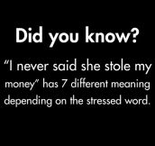 I never said she stole my money…