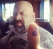 Self portrait on his thumb…
