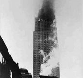 Empire State Building on fire after being rammed by a B-25 bomber – July 28, 1945