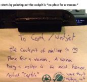 This Passenger's Note Left To The Pilot Is Disgusting. But Her Response? Completely EPIC.