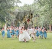 T-Rex Chases the Bridal Party at this Wedding