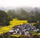 So Beautiful… A Small Village Surrounded By The Hills Of Guizhou Province, China