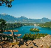 A bench with the most spectacular view of Lake Bled, Slovenia