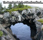 Erosion over millions of years eats away the rock beneath the arch…