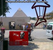 The Pyramids Make a Nice Background For KFC