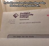 Letter From College