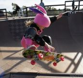 Just a 7-Year-Old Skateboarder in a Pink Bunny Costume!