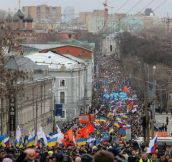 Approx. 70000 Russians marched against war with Ukraine in Moscow.