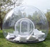 Inflatable lawn tent. Imagine laying in this thing in the rain.