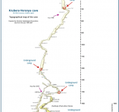 A map of the worlds deepest cave. It takes over a month to reach the bottom.
