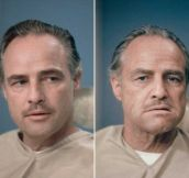 Marlon Brando before and after Don Vito Corleone makeup