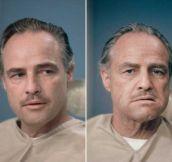 Marlon Brando before and after Don Vito Corleone makeup