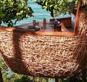 What The Waiter Does In This Tree-Top Restaurant Is Awesome. I Hope He Gets Paid Well.
