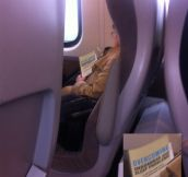 Saw this woman asleep on the train today, success!