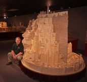A Minas Tirith replica made of matchsticks.