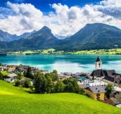 The lakeside village of St. Wolfgang, Austria