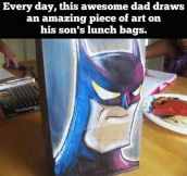 Awesome dad draws on his kids' lunch bags…