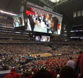The screen at the final four is bigger than the entire basketball court.