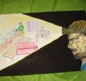 A very powerful picture drawn by the child of a coal-mine worker.