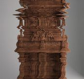 A cabinet carved to look like a glitch