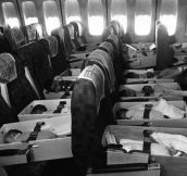 "Babies are strapped into airplane seats enroute to LAX during ""Operation Babylift"" with airlifted orphans from Vietnam to the US. April 12, 1975."