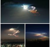 Rocket launches at sunset or sunrise produce a light show known as twilight phenomena.