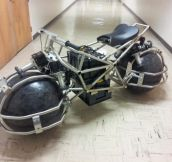 Spherical drive motorcycle being developed by engineering students.