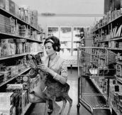 """Audrey Hepburn shopping with her pet deer ""Ip"" in Beverly Hills, CA, 1958."""