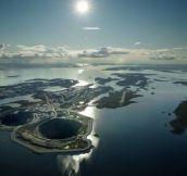 Diavik diamond mine in Canada, a hole in an island in a lake