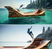 Bob Burnquist In a Floating Half-Pipe