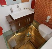 Glass-Floored Bathroom Over An Elevator Shaft