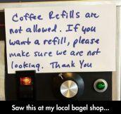 Coffee Refills Not Allowed