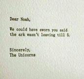 Noah Doesn't Wait For Anyone