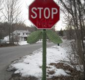 Yarn-Bombing a Stop Sign