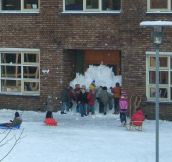 Kids work together to create eternal recess