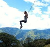 The Swing At The End Of The World Located At La Casa Del Argol In Banos Ecuador