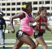At a quarter past 8 months pregnant Alicia Montano completed the 800-meter race in 2 mins 32 secs