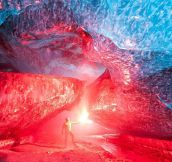 Ice Cave Lit Up