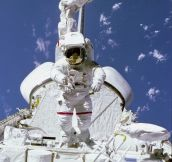 NASA Astronaut Bruce McCandless Walking Above Space Shuttle Payload Bay