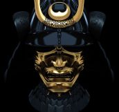 A Gold Trimmed Black Samurai Mask