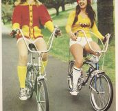 Ladies Riding Their Bikes In The Old Days