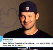 Tony Romo Reading A Mean Tweet About Himself