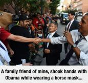 Obama And The Horse Mask Man