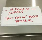 Bathroom Apology Note